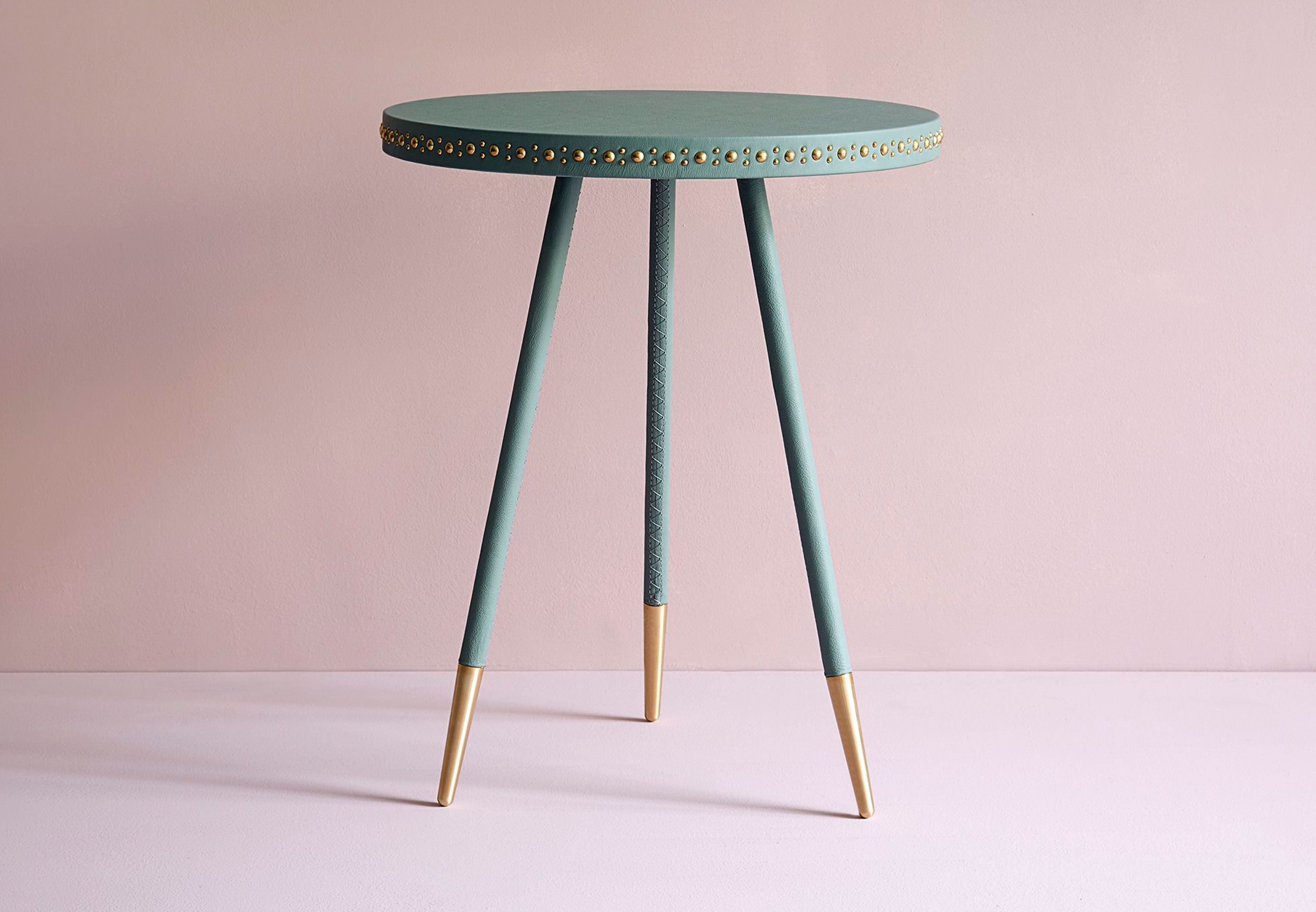 home products stud leather side table - Leather Side Tables